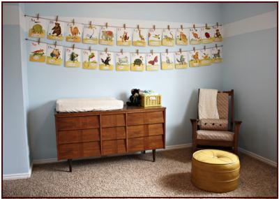 decorating a baby nursery with alphabet cards