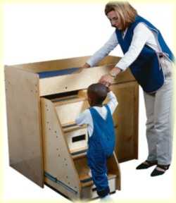 baby changing table with slide out steps