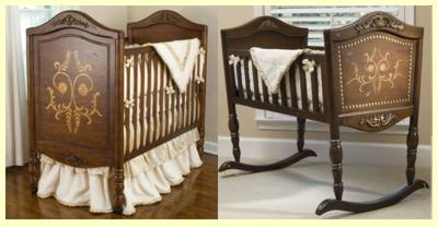 old world vintage crib and cradle