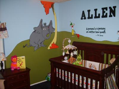 "Horton Hears a Who, Green Eggs and Ham, and the quote ""A person's a person, no matter how small"" along with our son's name and the crib"