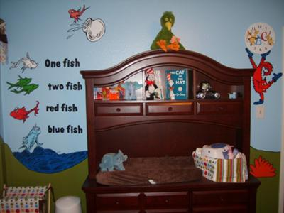 One Fish Two Fish..., Fox in Socks, the fish from the Cat in the Hat - changing table/dresser, clothes hamper